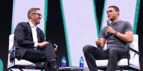 Pluralsight CEO Aaron Skonnard and Trevor Noah
