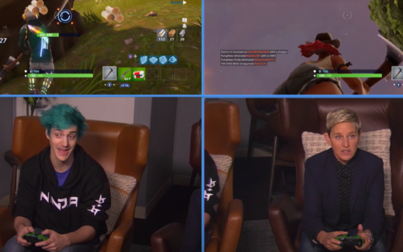Ninja plays video games with a woman.