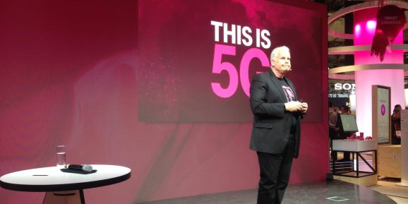 Neville Ray, CTO of T-Mobile, speaks at the 2018 Mobile World Congress in Barcelona.
