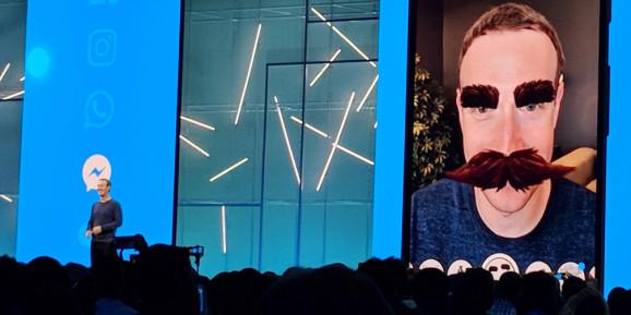 Facebook CEO Mark Zuckerberg shows AR Camera Effects Platform with mustache shenanigans at F8 2018